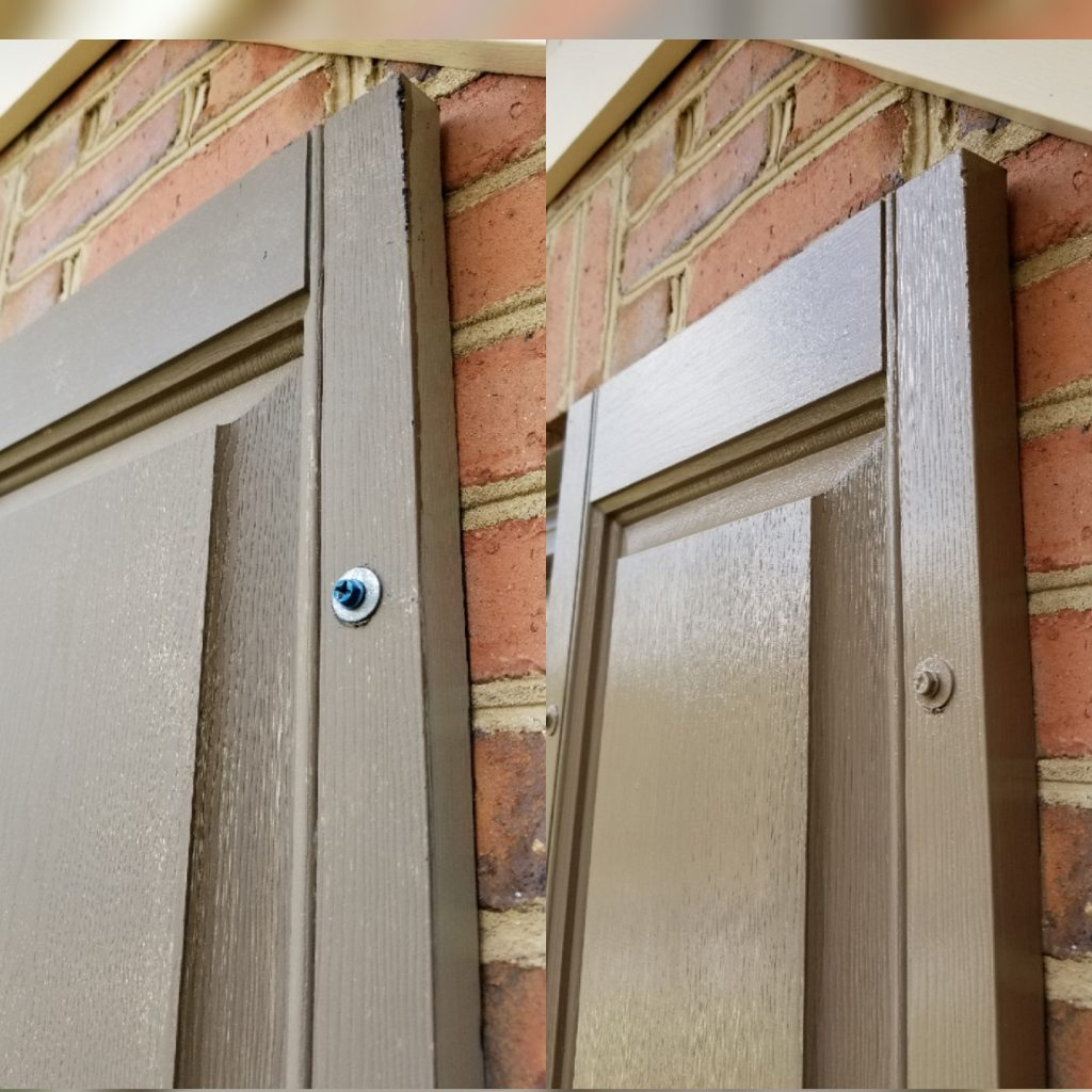 Before and after exterior shutter painting