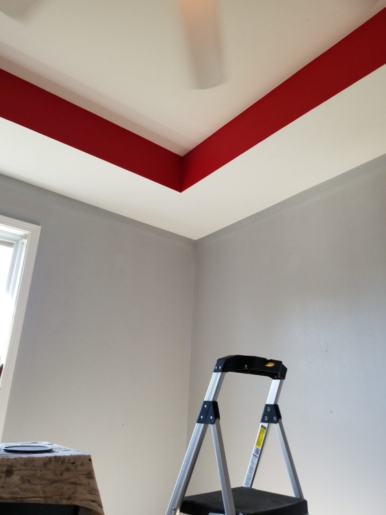 Red tray ceiling